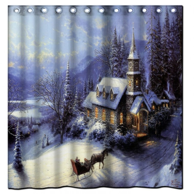 Golden Shower Merry Christmas Bath Curtain
