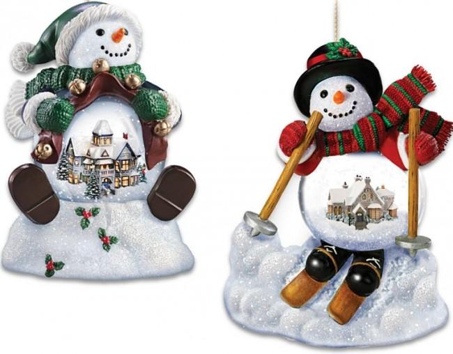 Holiday Scene Snowman Snowglobe Ornament Set