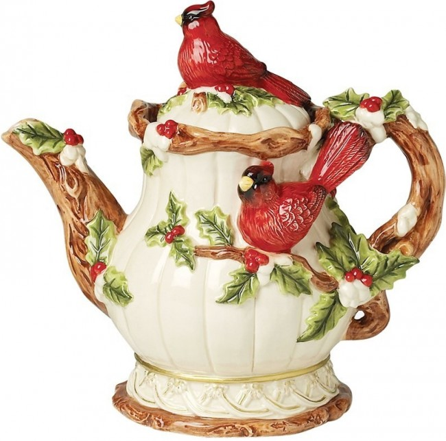 Home Decor Christmas Cardinal Teapot