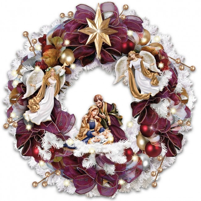 Illuminated Wreath With Angels And Nativity