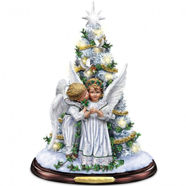 Kisses From Heaven Illuminated Tabletop Tree With Angels