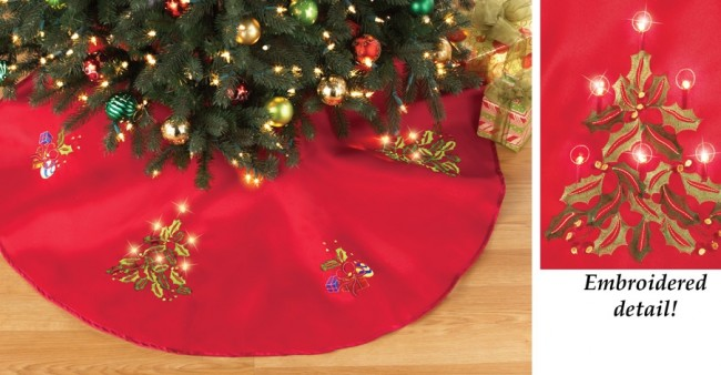 LED Embroidered Round Tree Skirt