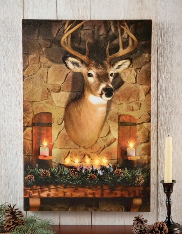 Lighted Deer Evergreen Hanging Canvas