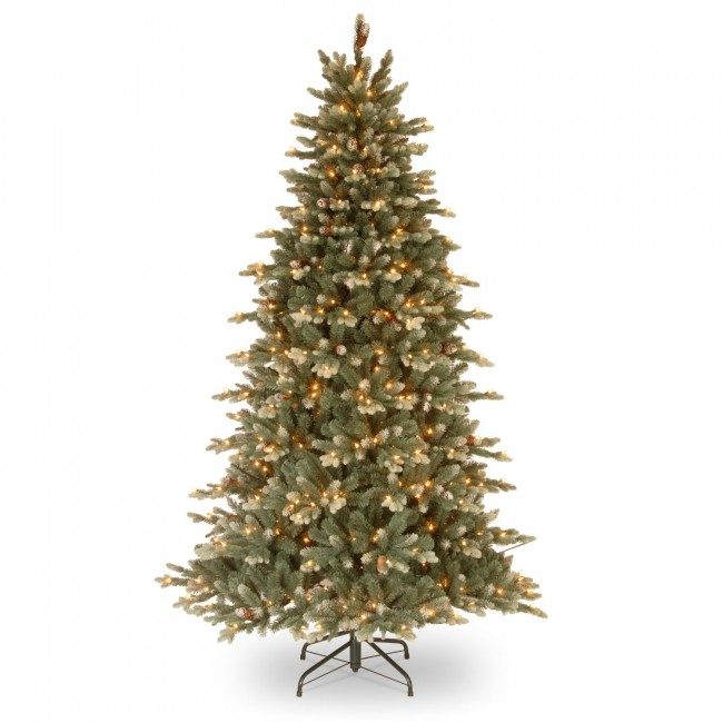 National Tree Copenhagen Spruce Hinged Tree with 40 Flocked Cones & 750 Clear Lights, 7.5'