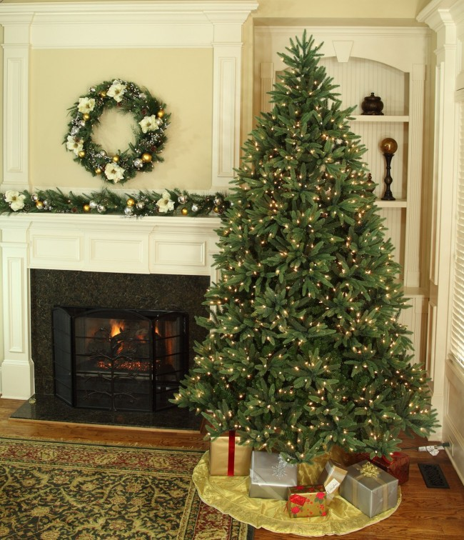 Noble Fir Prelit Tree - 14' Full Pre-lit Noble Fir Tree, 2800 Clear Lamps