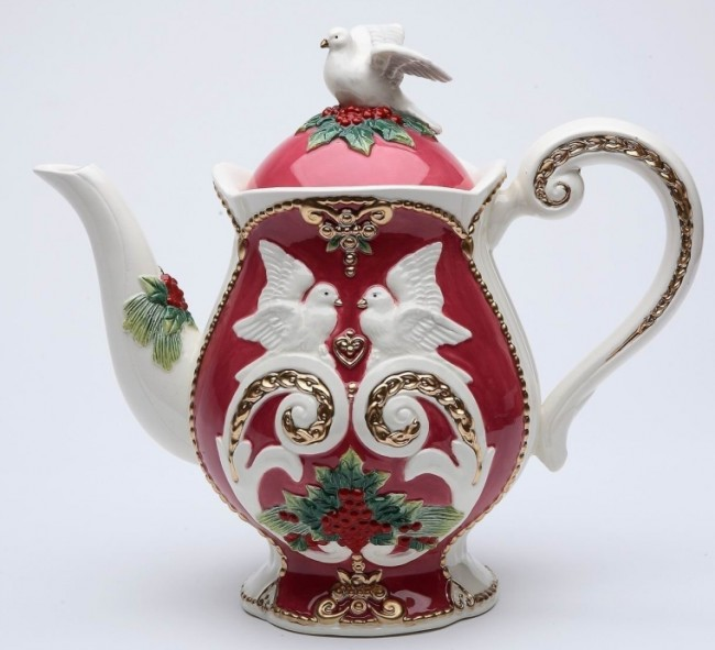 Porcelain Teapot with Holiday Color Doves and Flowers