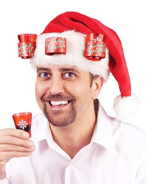 Santa Hat With Shot Glasses