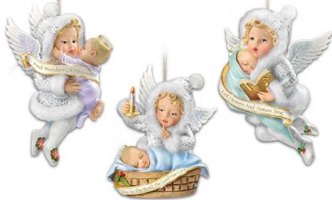 Sculpted Angels with Baby Jesus Christmas Ornaments