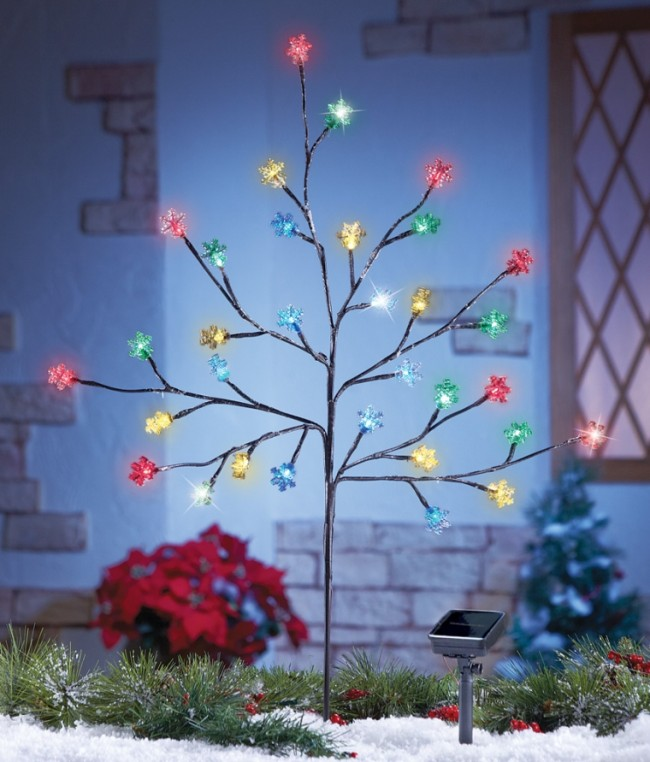Solar Multi Color Snowflake Branch Tree