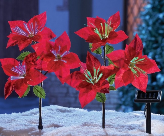 Solar Power Lighted Fiber Optic Red Poinsettia Flowers Christmas Yard