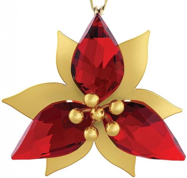 Swarovski Poinsettia Gold Tone Christmas Ornament