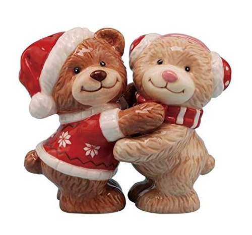 Teddy Bears Hugging Ceramic Magnetic Salt and Pepper Shakers