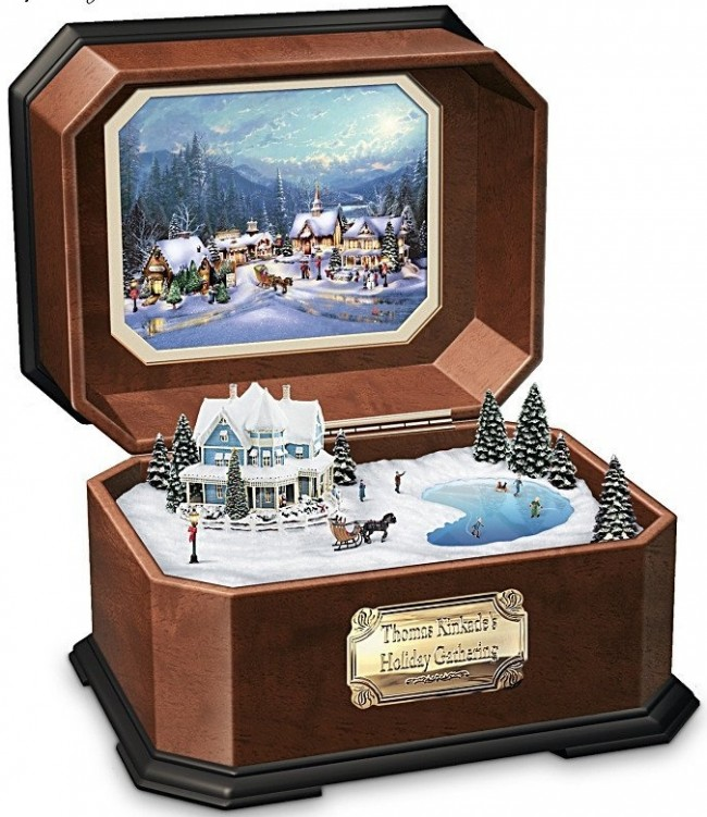 Thomas Kinkade Holiday Gathering Collectible Music Box by The Bradford Exchange