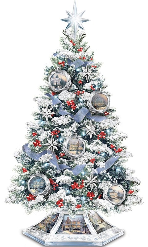 Thomas Kinkade Musical Christmas Tabletop Tree With Crystal Base