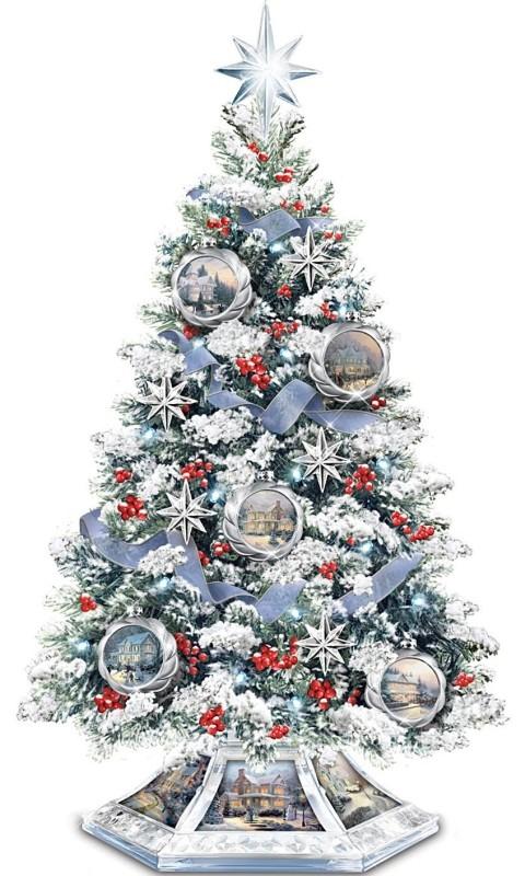 Thomas Kinkade Musical Christmas Tabletop Tree With Crystal Base