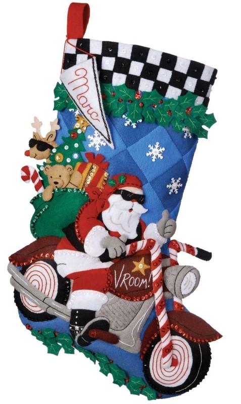 Bucilla Cruising Santa Stocking Felt Appliqué Kit