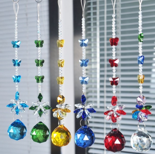 Crystal Ball Pendant Chandelier Decor Hanging Prism Suncatcher Butterfly Ornaments