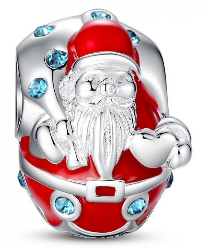 Glamulet Santa Christmas Charm Swarovski 925 Sterling Silver Fits Pandora Bracelet