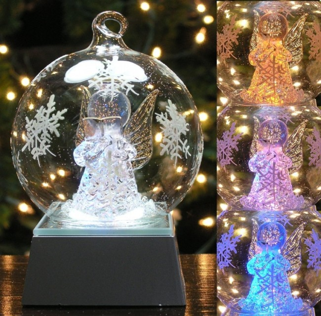 LED Lighted Angel Glass Globe Christmas Ornaments