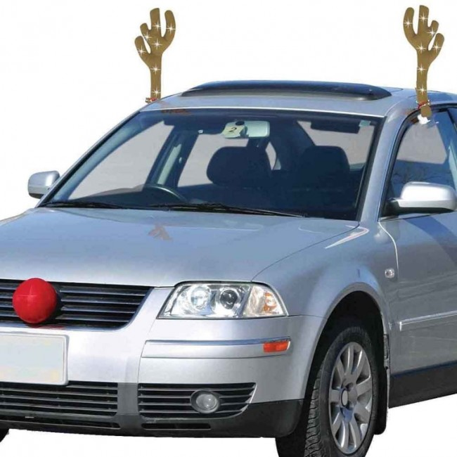 Lighted LED Holiday Reindeer Car Costume With Big Red Nose & Glowing Antlers