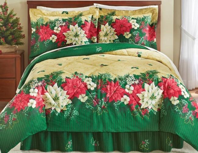 Reversible Christmas Poinsettia Comforter Set Multi King