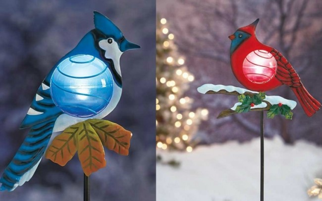 Set of 2 Red Cardinal and Blue Jay Solar Powered Light Christmas Bird Outdoor Yard Decoration