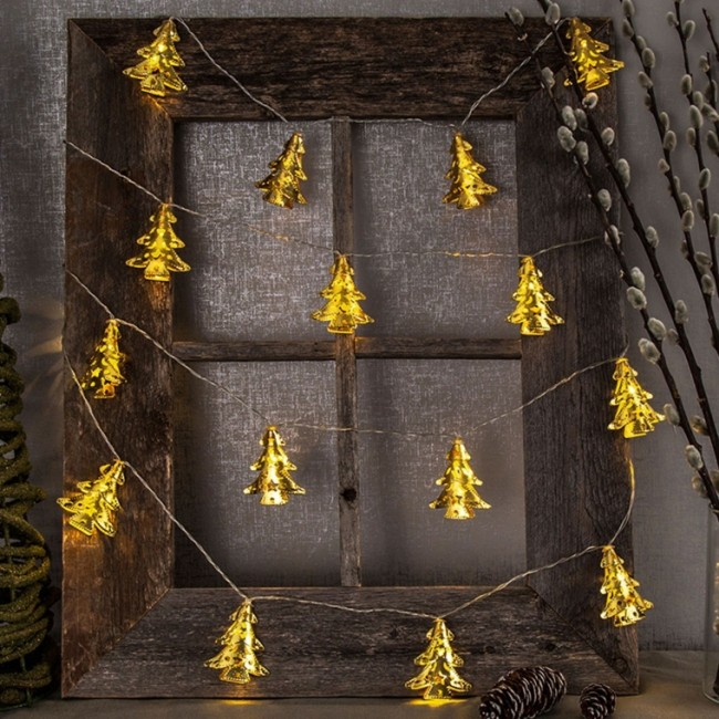 Set of 3 Gold 10 LED Metal Christmas Tree Battery String Lights