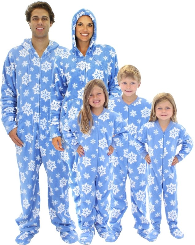 Snowflake Family Matching Fleece One Piece Footed Pajamas