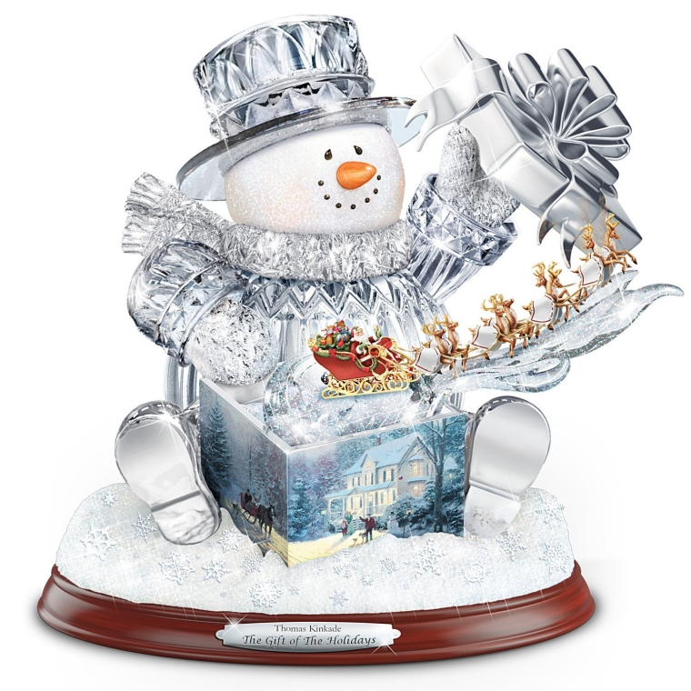 The Gift Of The Holidays Crystal Snowman Sculpture With