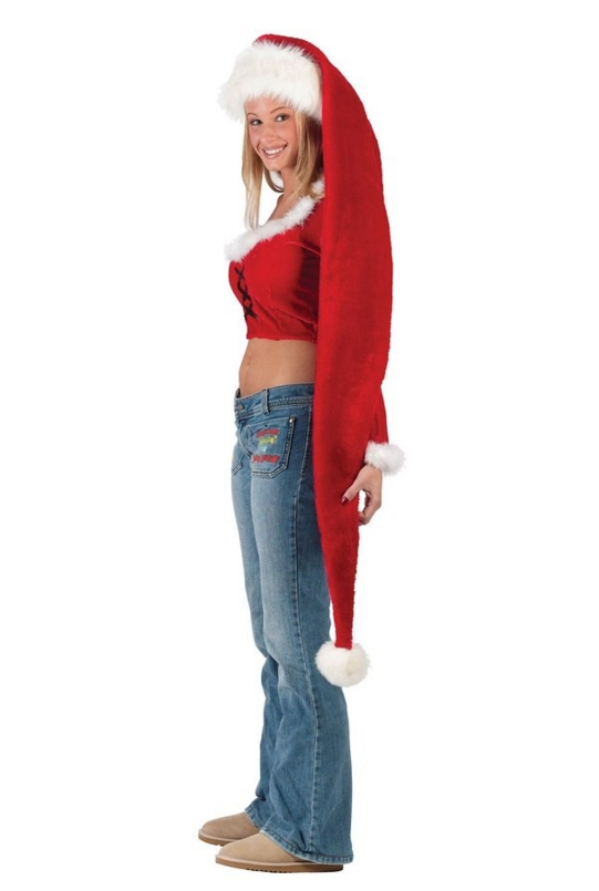 Women's Adult Long Santa Hat