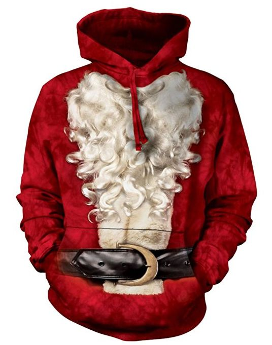 Santa Suit Pullover Hooded Sweatshirt Adult Mens