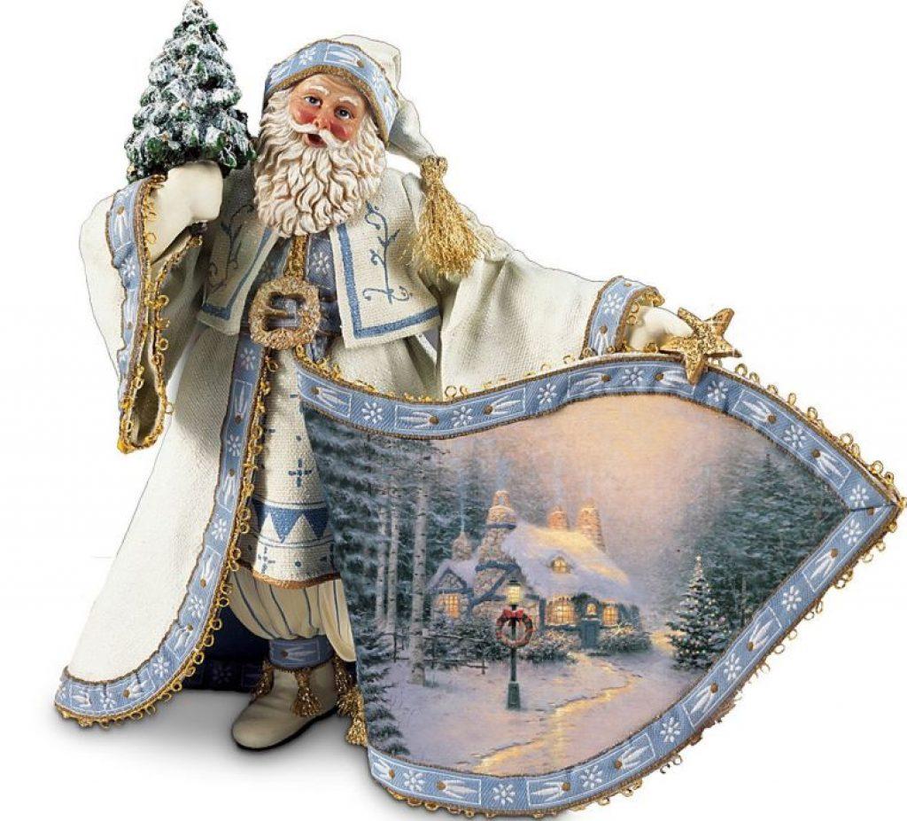 Thomas Kinkade Frosty Christmas Eve Santa Figurine Christmas
