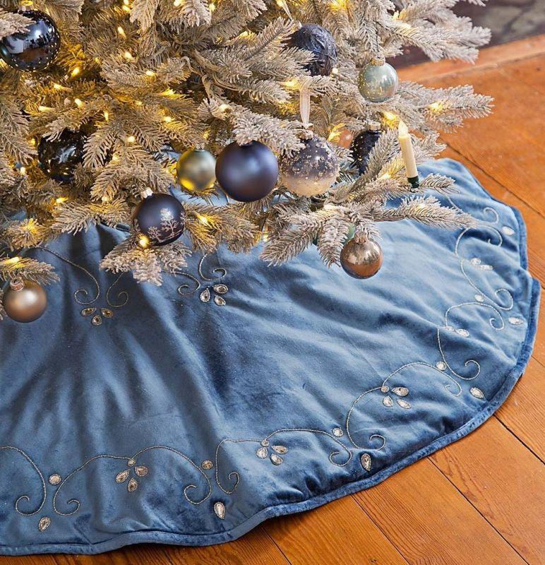 Blue Velvet Christmas Tree Skirt
