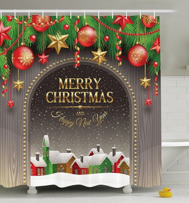 christmas-decorations-shower-curtain-set