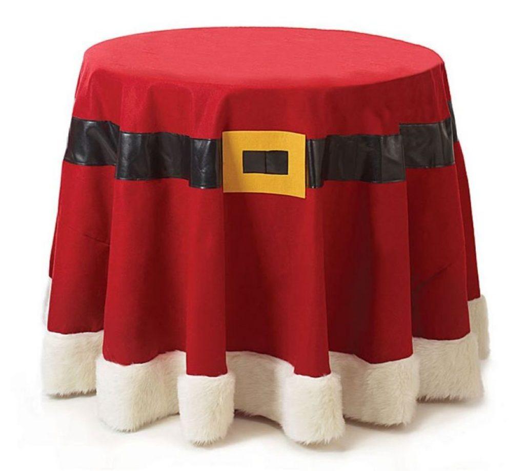 Christmas Santa Belt Red Felt Fabric Tablecloth 96 Round