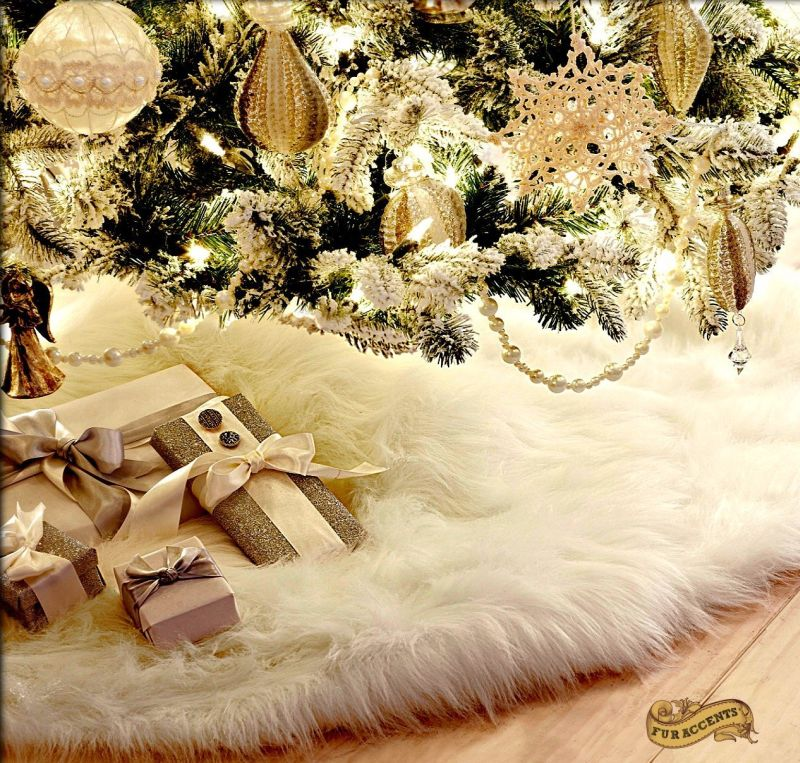 Christmas Tree Skirt Plush Shaggy Faux Fur