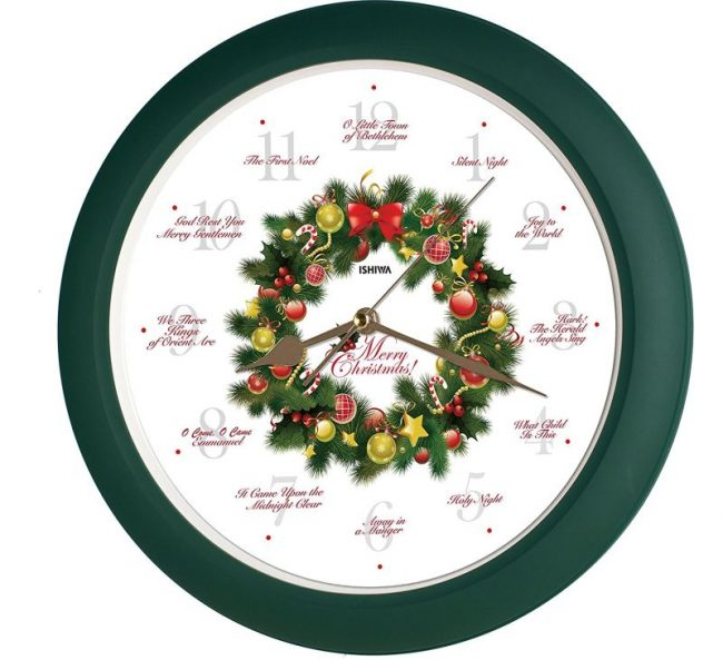 elegant-collection-14-inch-12-song-of-carols-of-christmas-wreath-wall-clock