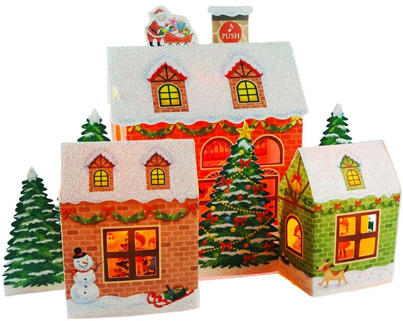 Festive Christmas Home Lights & 16 Melodies Pop Up Greeting Card