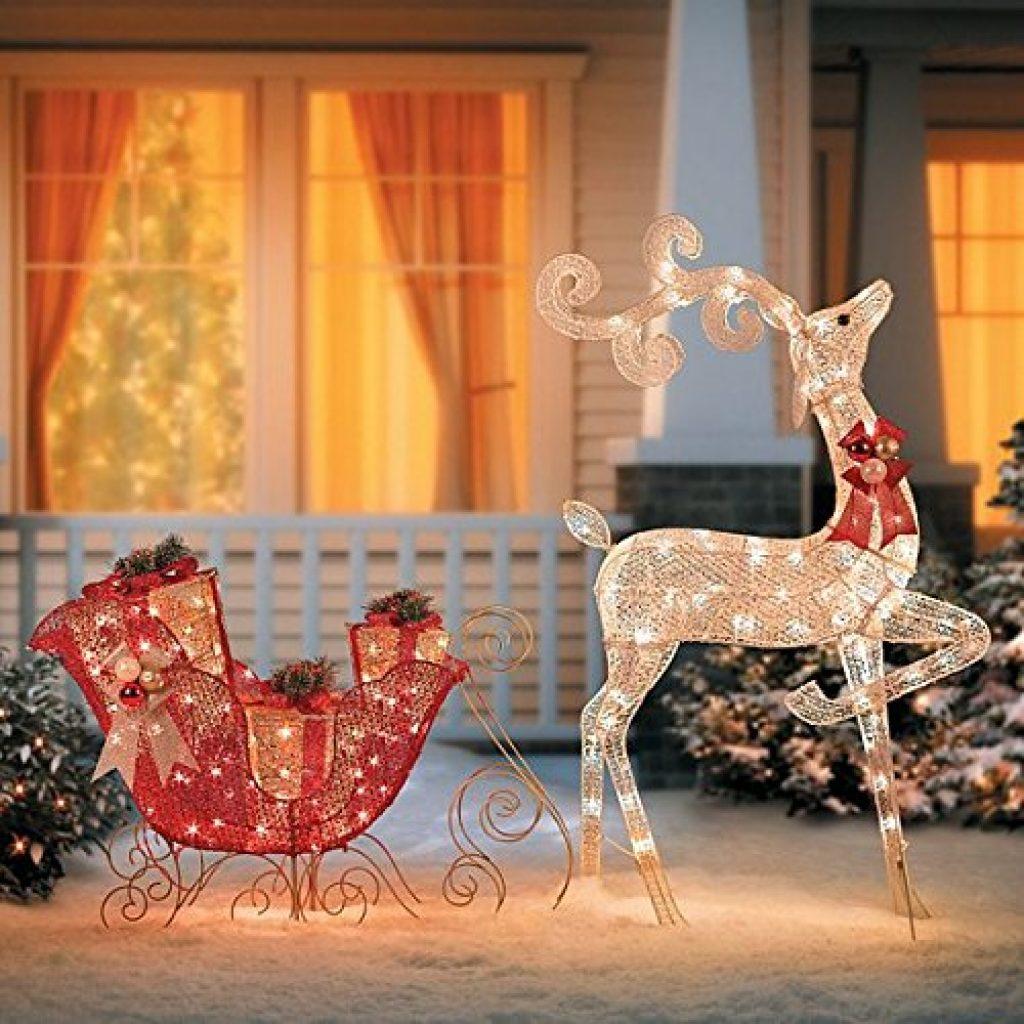 Glittering reindeer and sleigh lighted christmas decor christmas