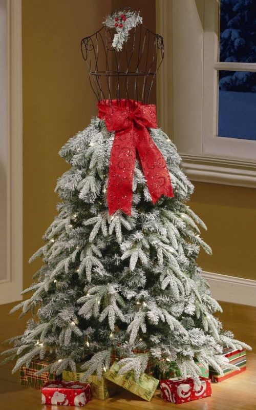 holiday-time-artificial-christmas-trees-5-flocked-dress-form-artificial-tree-clear-lights
