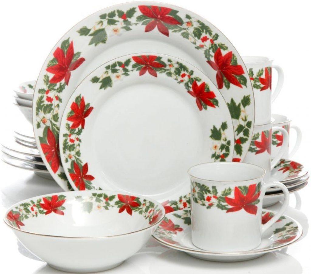 Poinsettia Holiday 20 Piece Dinnerware Set Christmas