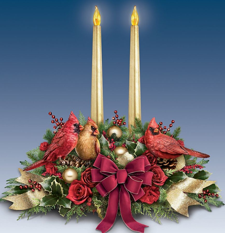 Songbird Christmas Floral Table Centerpiece