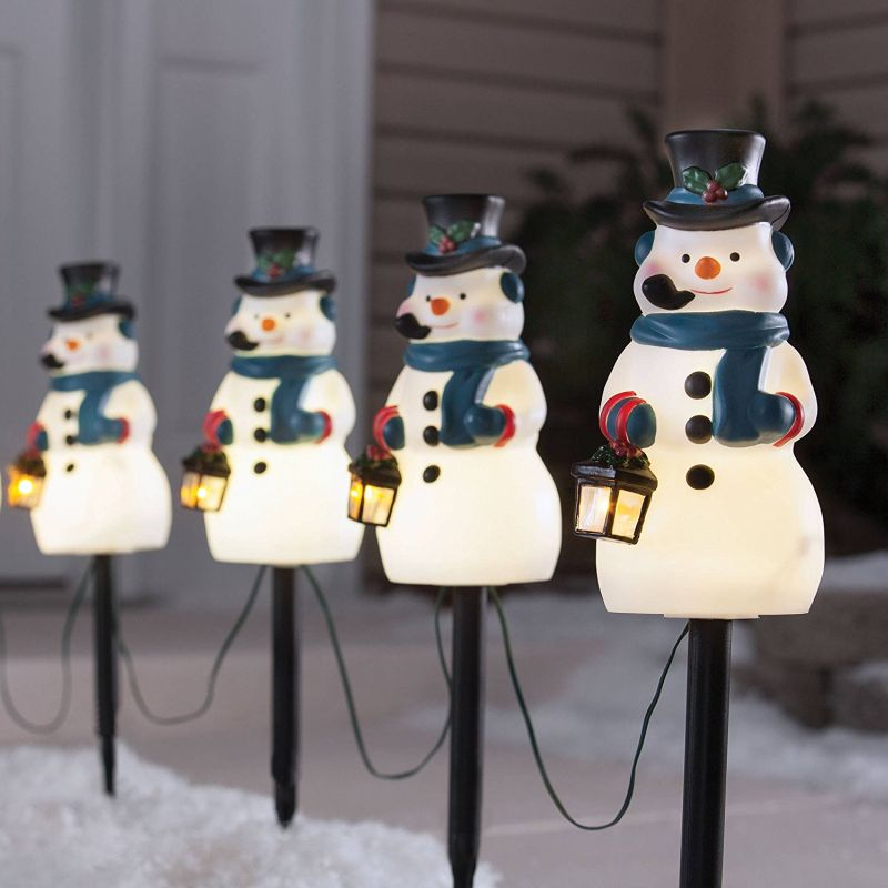 Snowman Stakes Pathway Markers Christmas Holiday Lights Outdoor Decor