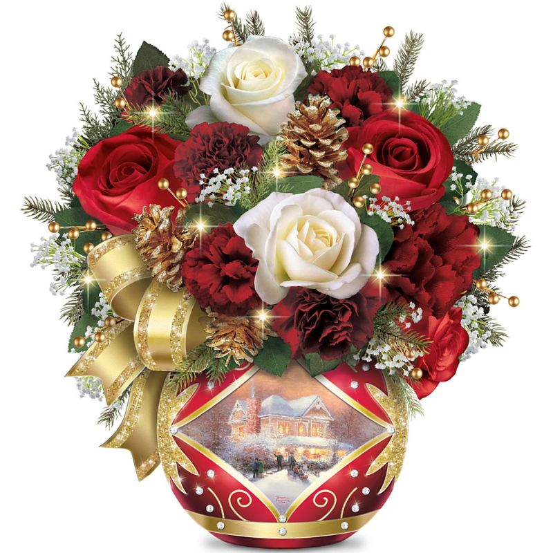 Holiday Cheer Always in Bloom Illuminated Floral Arrangement