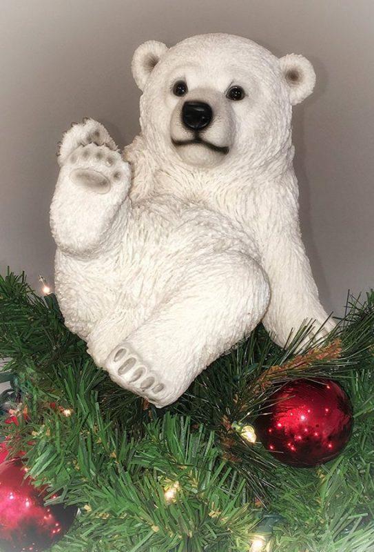 playing-polar-bear-sitting-christmas-tree-topper
