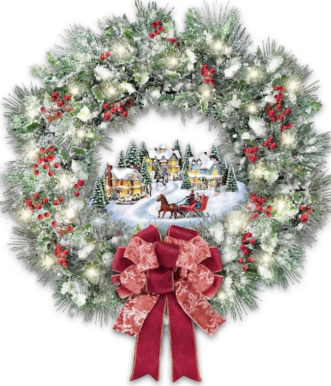 Thomas Kinkade A Holiday Homecoming Musical Christmas Village Wreath ...