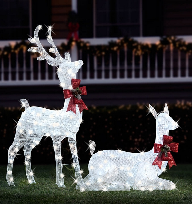 The Glimmering Life Sized Stag and Doe