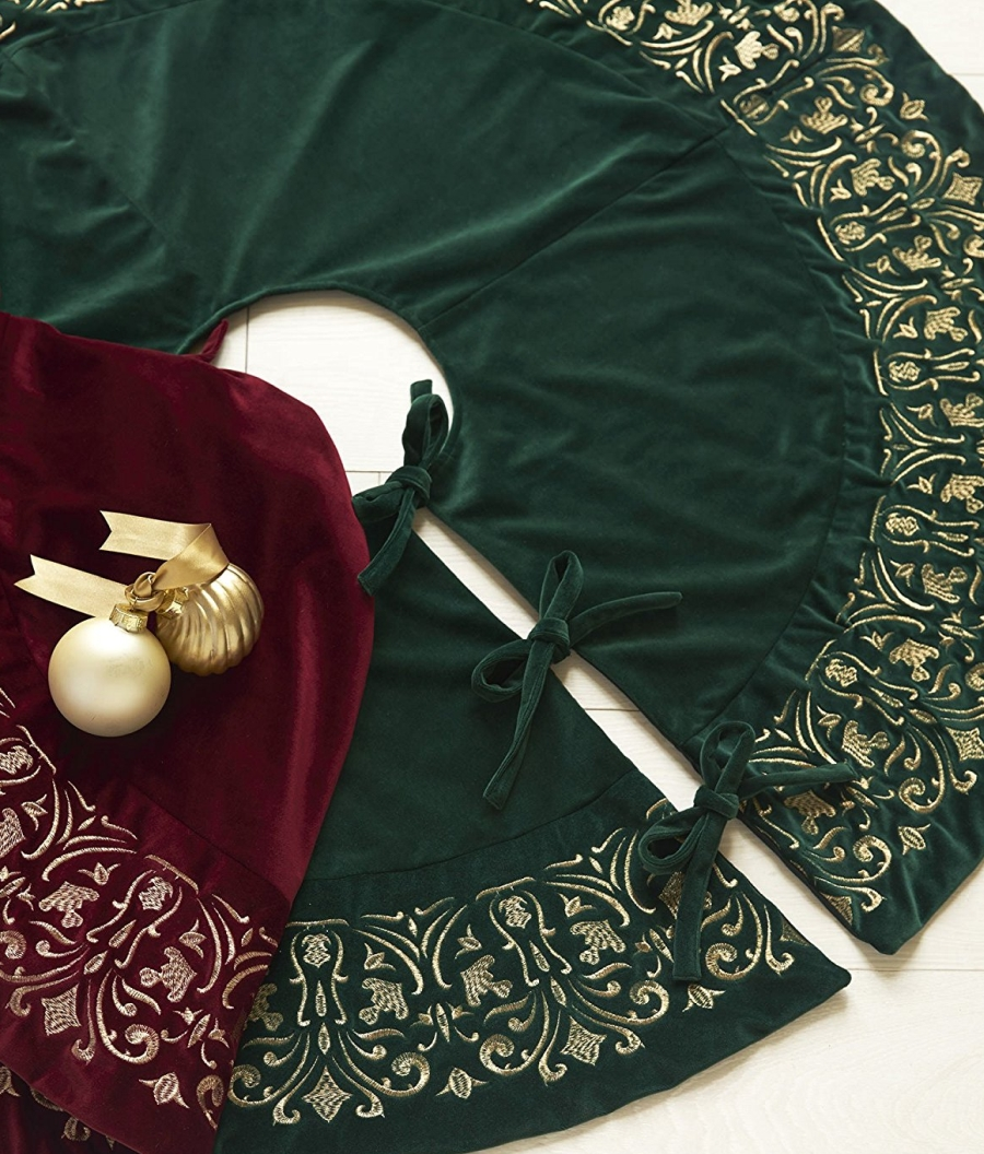Balsam Hill Luxe Embroidered Velvet Tree Skirt