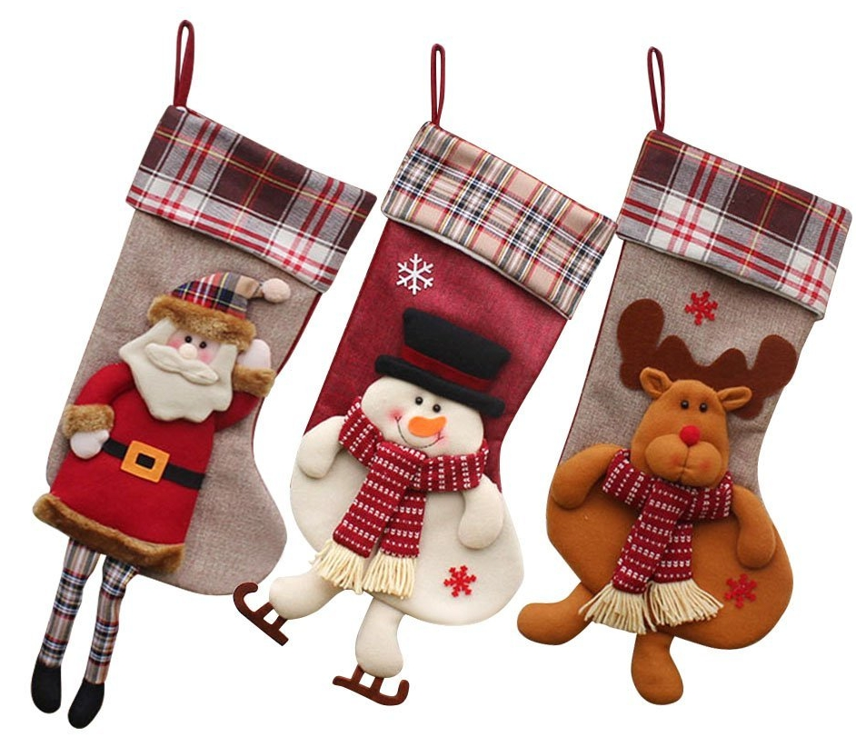 Classic Christmas Stockings 18″ Cute Santa's Toys Stockings Plush 3D