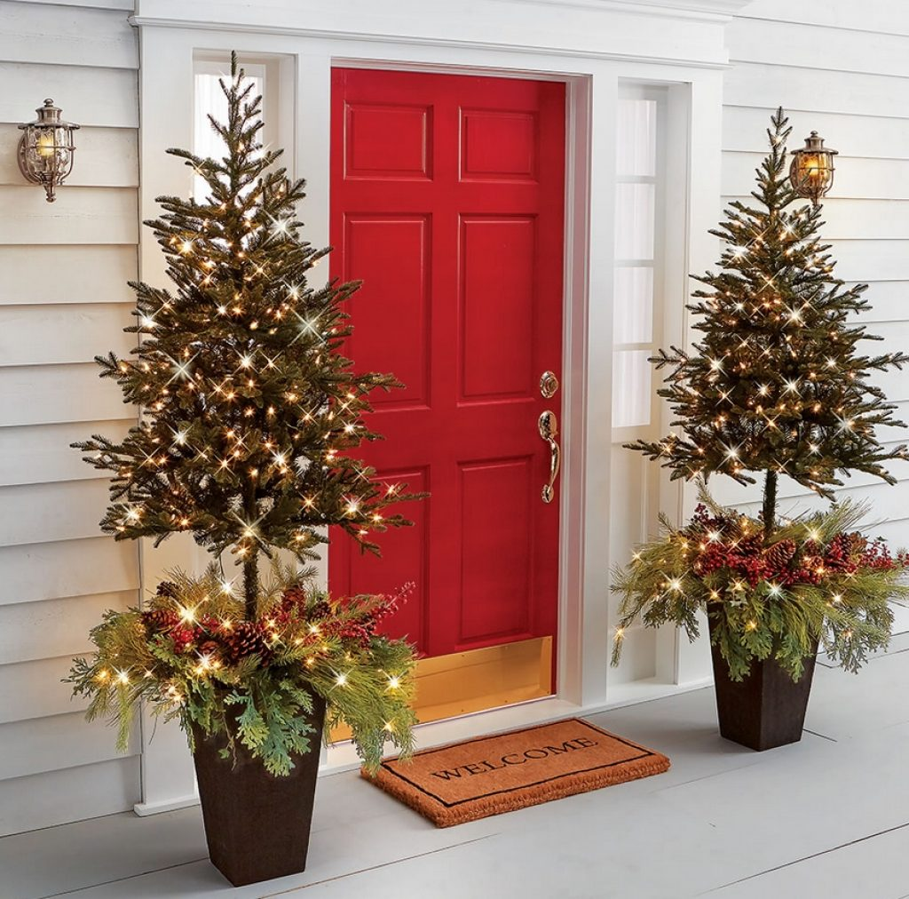 The Estate Door Prelit Christmas Tree Planter Christmas